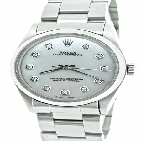 Pre-Owned Mens Rolex Stainless Steel Oyster Perpetual White MOP Diamond 1002 (SKU 5098120NNCMT) ()