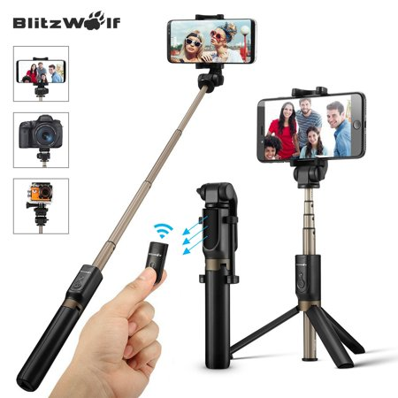 BlitzWolf bluetooth Selfie Stick Tripod Monopod with Remote Control Shutter Handheld Extendable Folding Mini Pocket 360° Camera Tripods Clamp Universal Fit for 3.5