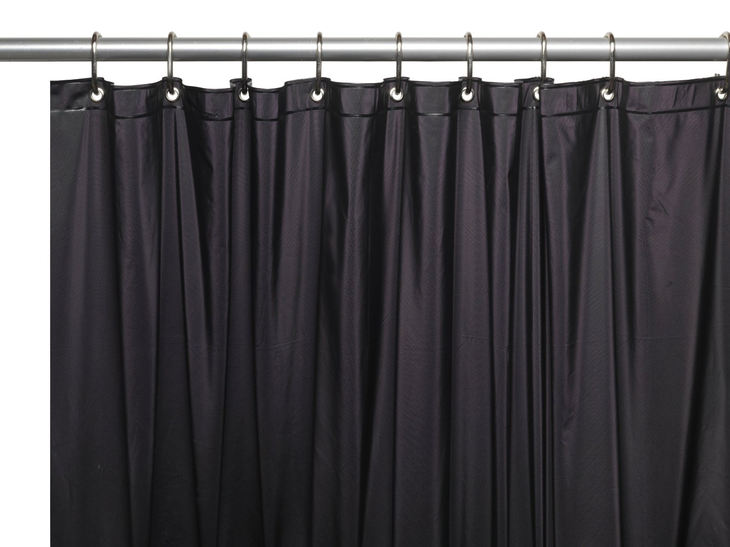 Charmant Black 3 Gauge Vinyl Shower Curtain Liner With Weighted Magnets And Metal  Grommets