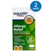 Equate Allergy Relief Cetirizine Antihistamine Tablets, 10 mg, 45 Ct