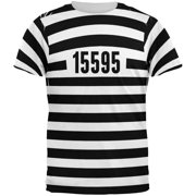d8d9d815a695ac Halloween Prisoner Old Time Striped Costume All Over Adult T-Shirt