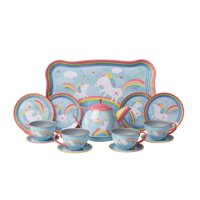 "Unicorn Play Tea Set - Child Size Teacups, Saucers, and Serving Tray - 9"" tray, four 3.5"" plates"