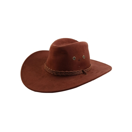 Men Faux Suede Adjtable Neck Strap Western Style Sunhat Cowboy Hat Cap - Cowboy Hats Cheap
