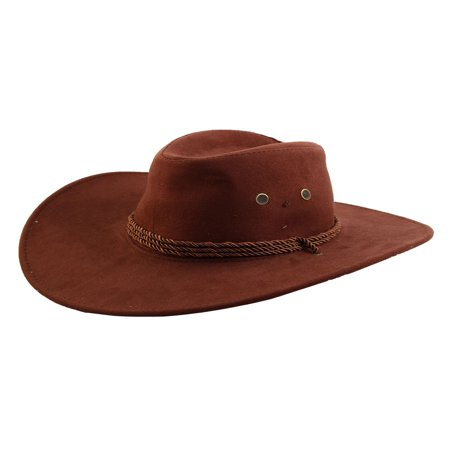 Men Faux Suede Adjtable Neck Strap Western Style Sunhat Cowboy Hat Cap](Novelty Cowboy Hats)