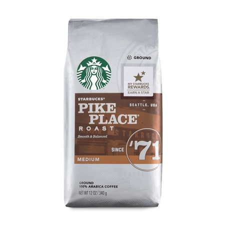 Starbucks Pike Place Roast Medium Roast Ground Coffee, 12-Ounce
