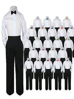 23 Color 3pc Set Bow Tie Boy Baby Toddler Kid Formal Suit Shirt Black Pants S-7