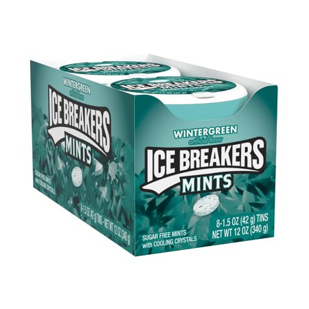 Ice Breakers, Wintergreen Breath Mints , 1.5 Oz, 8 (Wintergreen Mints)
