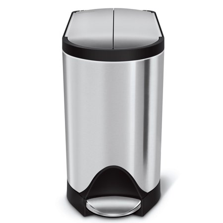 simplehuman 10 litre / 2.6 gallon butterfly step trash can fingerprint-proof brushed stainless steel Brushed Stainless Steel Trash Can