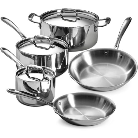 Copper Tri Ply - Tramontina Stainless Steel Tri-Ply Clad Cookware Set, 8 Piece