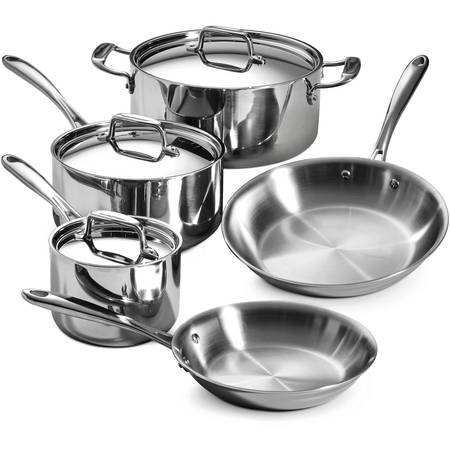 All Clad Stainless Steel Cookware Set - Tramontina Stainless Steel Tri-Ply Clad Cookware Set, 8 Piece