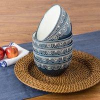 Better Homes & Gardens Teal Medallion Bowls, Teal, Set of 6