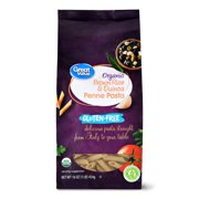 (4 pack) Great Value Gluten-Free Organic Brown Rice & Quinoa Penne Pasta, 16 oz