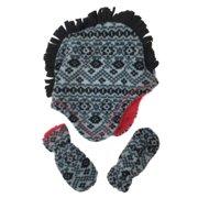 c5ae131a ABG Infant & Toddler Boys Black & Gray Mohwak Trapper Hat & Mittens Set