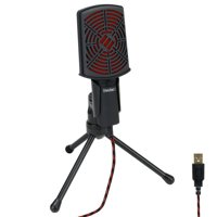 PC USB Condenser Gaming Microphone - Computer Streaming Mic Adjustable Stand Plug and Play Design and Mute Switch by ENHANCE - For Skype, Conference Calls, Twitch, Youtube, Discord and Recording