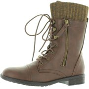 e72d9e360322 Forever Link Womens Justina-58 Sweater Cuff Combat Boots