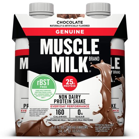 (3 pack) Muscle Milk Genuine Non-Dairy Protein Shake, Chocolate, 25g Protein, Ready to Drink, 11 Fl Oz, 12