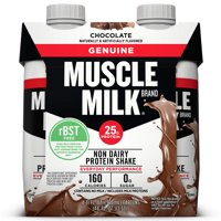 Muscle Milk Genuine Non-Dairy Protein Shake, Chocolate, 25g Protein, Ready to Drink, 11 Fl Oz, 4 Ct
