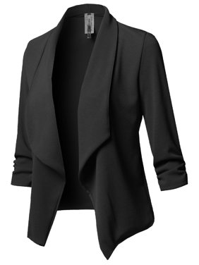 15bc77fc6d9 Product Image FashionOutfit Women s Stretch 3 4 Gathered Sleeve Open Blazer  Jacket