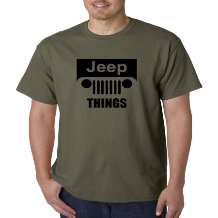 Trendy USA 740 - Unisex T-Shirt Jeep Things Wrangler Grille XL Military Green ()