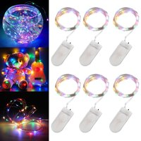 6-pack 20 LEDs Battery Operated Waterproof Fairy String Lights Starry Rope Copper Wire Lamps Cold White/Multi-color/Warm White
