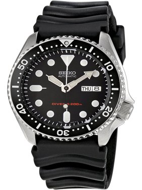 SKX007K,Men's Automatic Diver,Self Winding,Stainless Steel Case and silicone strap,Screw Crown,200m WR,SKX007
