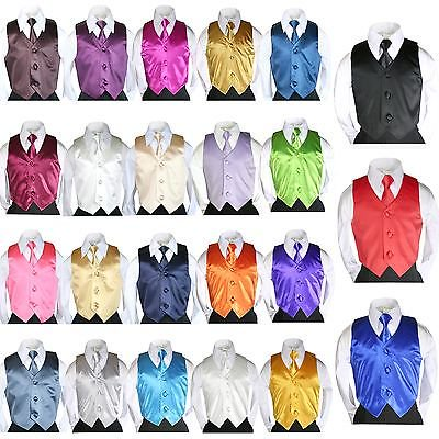 - 23 colors 2 pc Set Satin Vest Long Necktie Kids Child Teen Formal Boys Suit 8-20