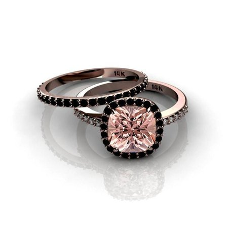 2 Carat Round cut Real Morganite and Diamond Bridal Wedding Ring Set with Engagement Ring and Wedding Band in 18k Gold Over Silver 2 Ring Wedding Set