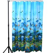 Multicolor Dolphin Pattern Tropical Fish Coral Ocean Theme Bath Shower Curtain With 12 Hooks