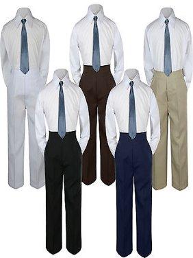 3pc Boy Suit Set Dark Gray Necktie Baby Toddler Kid Formal Shirt Pants S-7