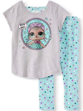 Mermaid Cross Back T-Shirt and Capri Legging, 2-Piece Outfit Set (Little Girls)