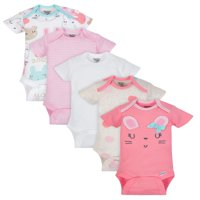 Organic Cotton Short Sleeve Onesies Bodysuits, 5pk (Baby Girls)