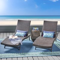 Outdoor Wicker Chaise Lounges, Set of 2, Brown