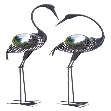 Decmode beach decor set of 2 coastal 40 and 43 inch caged iron gazing balls on standing crane sculptures,