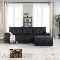 Classic Tufted Faux Leather Sectional Sofa
