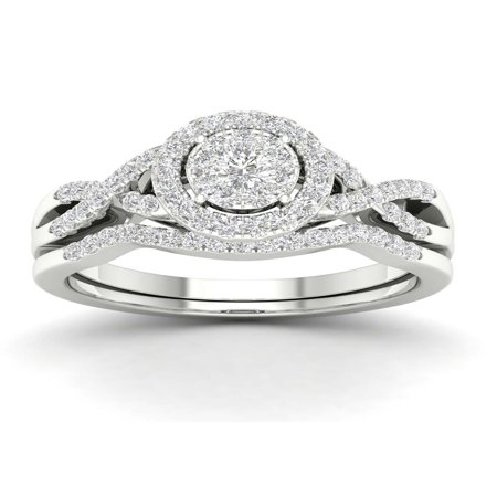 Imperial 3/8Ct TDW Diamond 10k White Gold Cluster Halo Twist Shank Bridal Ring Set (I-J, I2)