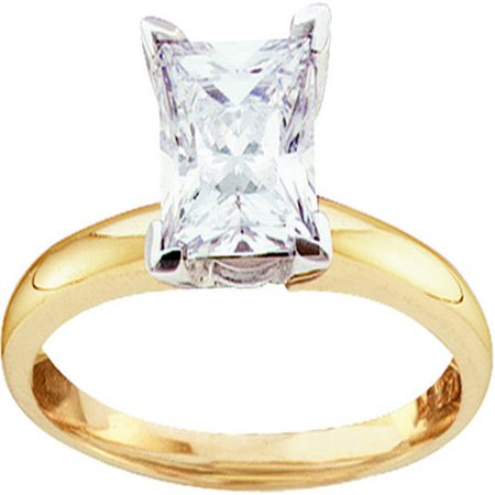 Size 7 - 14k Yellow Gold Princess Cut Diamond Solitaire Bridal Wedding Band Engagement Ring (1/2 -