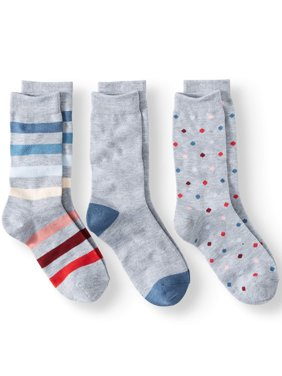 Stripe and Dot Crew Socks Women's, 3 Pairs (Gray Assorted)