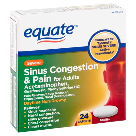 Equate Severe Sinus Congestion & Pain Acetaminophen Caplets, 325 mg, 24