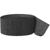(2 Pack) Black Crepe Paper Streamers, 81ft