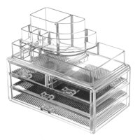 Clear Acrylic Jewelry Organizer And Makeup Organizer Cosmetic Organizer With Large 3 Drawer Jewelry Chest