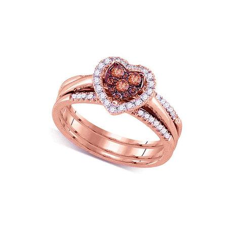14kt Rose Gold Womens Round Cognac-brown Color Enhanced Diamond Heart Cluster Bridal Wedding Engagement Ring Band Set 1/2 Cttw - Rose Gold Wedding Colors