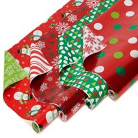 American Greetings Christmas Reversible Wrapping Paper Polka Dots, Trees, Snowmen and Snowflakes, 4ct, 30 Sq. Ft. Per Roll