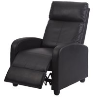 Black Modern Leather Chaise Couch Single Recliner Chair Sofa Furniture 87