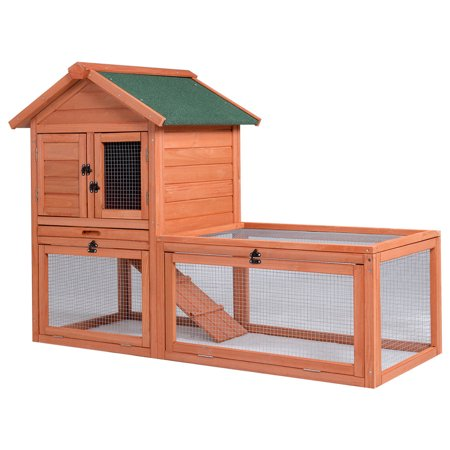 Gymax Pet Wooden House Rabbit Hutch Bunny Chicken Coops Cages with Tray Run Outdoor