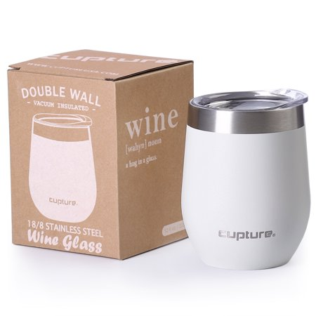 Cupture Stemless Wine Glasses 12 oz Vacuum Insulated Tumbler with Lids - 18/8 Stainless Steel (Winter White)