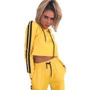 711e7f647 2Pcs Women Tracksuit Set Hoodie Crop Top Sweatshirt Pants Sets Jogging  Sports Casual Suit