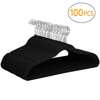 Yaheetech 100PCS Non Slip Velvet Clothes Suit/Shirt/Pants Hangers Black
