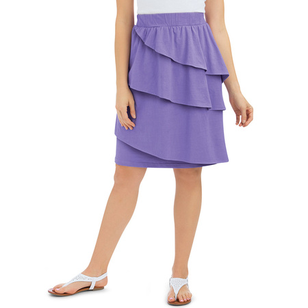 Women's Cotton Ruffled Knee Length Skirt with Three Asymmetrical Tiers with Elastic Waistband, X-Large, Lilac ()