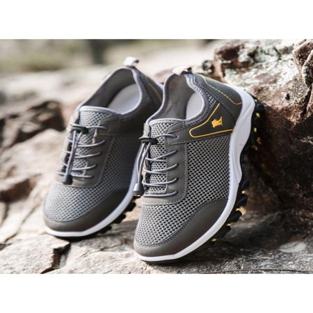 Men Outdoor Sneakers Breathable Hiking Shoes Mesh Walking Sport Trainers Running