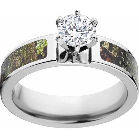 Obsession Camo 1 Carat T.G.W. Round CZ in 14kt White Gold Prong Setting Cobalt Engagement Ring with Polished Edges and Deluxe Comfort -